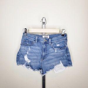 PINK VS Distressed High Rise Denim Cutoff Shorts